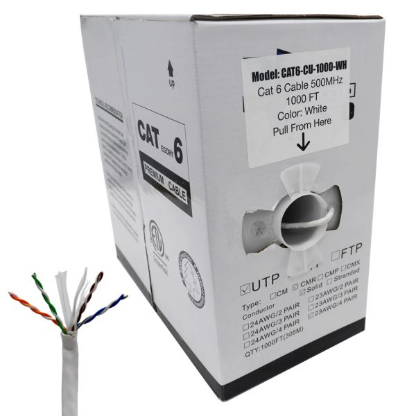 CAT6 Ethernet Cable with Copper Conductor and ETL Rating (White)