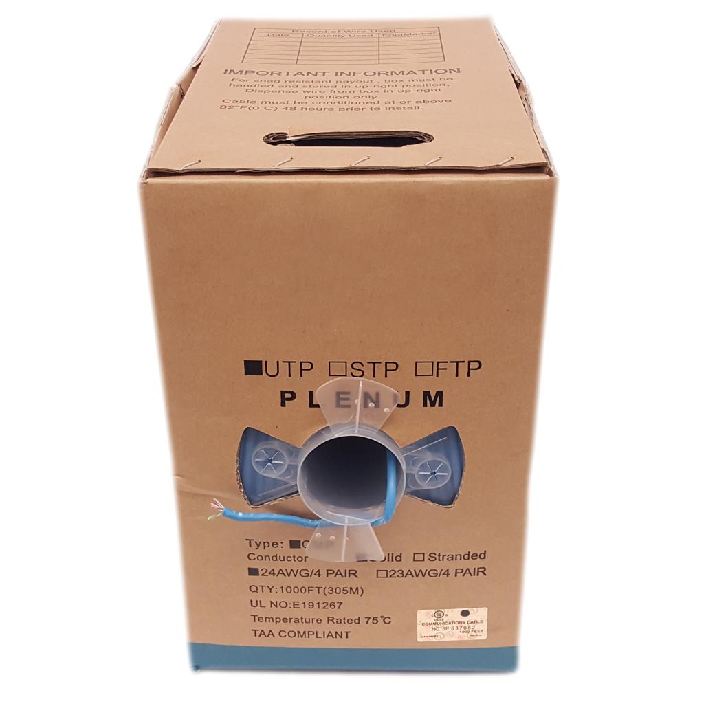 1000ft Box CAT6 24 AWG Copper Plenum Cable (Blue)